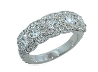 Custom made Five stone cushion diamond pave' halo band