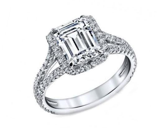Custom made 1.25ct Criss cut diamond pave split shank engagement ring