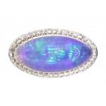 Estate platinum crystal opal and diamond ring