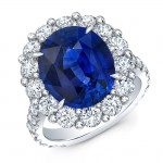 Vivid Blue Sapphire and Diamond Ring