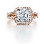 Custom rose gold Asscher cut diamond engagement ring
