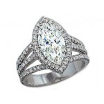 2.27ct marquise diamond pave' halo 3-split shank r