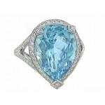 9.13ct pear Aquamarine custom diamond halo ring